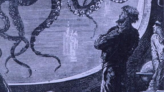 Eine Gravur, die Kapitän Nemo darstellt, der einen riesigen Kraken beobachtend, von Jules Verne s 20.000 Meilen unter dem Meer.