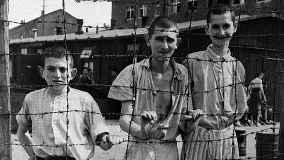 Junge Überlebende hinter einem Stacheldrahtzaun im Konzentrationslager Buchenwald