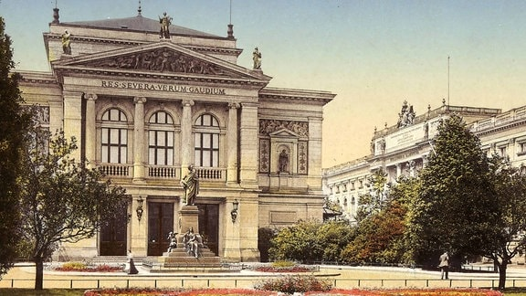 Konzerthaus Leipzig und Mendelsohn-Denkmal 1911