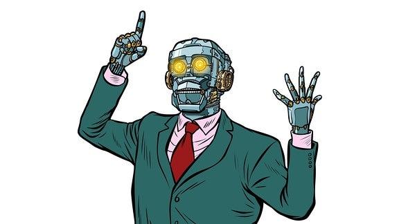 Grafik - Ansprache haltender Roboter