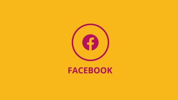 Icon Facebook auf gelbem Grund