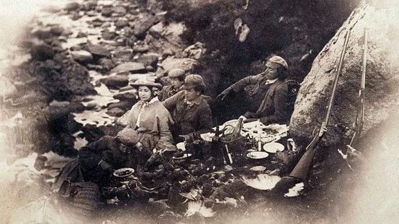 Picknick an einem Bach, ca. 1856