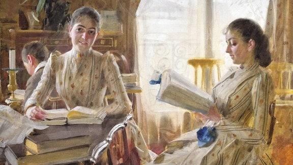 Gemälde zeigt zwei lesende Frauen