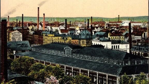 Chemnitz in Sachsen, Blick zur Markthalle