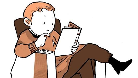 Zeichnung - Captain Kirk liest ein Buch.