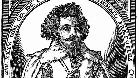 Portrait von Michael Praetorius oder Schultheiß, 1571 - 1621, ein deutscher Komponist, Organist, Hofkapellmeister und Gelehrter im Übergang von der Renaissance zum Barock