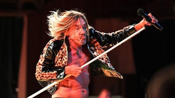 Bei einem Konzert in Sydney 2019 trägt Musiker Iggy Pop eine Lederjacke mit Leoparden-Muster über dem nackten Oberkörper.