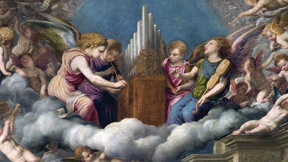 Heiliges Gespäch mit dem Heiligen Hieronymus, Ausschnitt aus einem Gemälde von Paris Bordon (1500-1571).