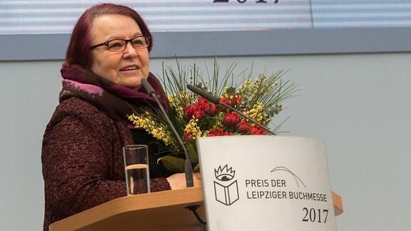Natascha Wodin bei der Verleihung des Preises der Leipziger Buchmesse, 2017