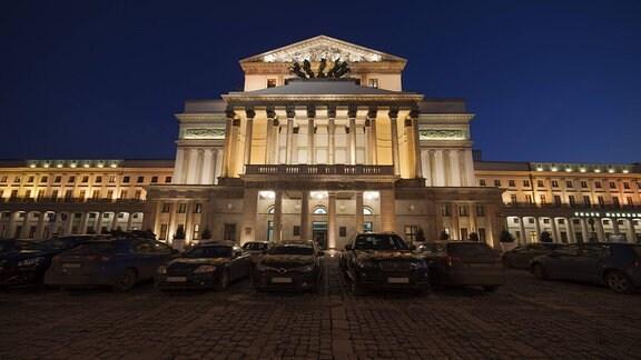 Das Große Theater in Warschau bei Nacht