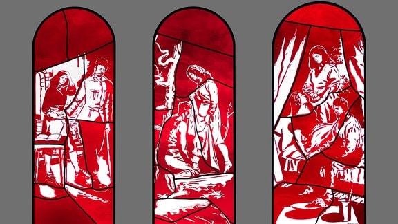 Von Neo Rauch gestaltete Fenster in der Elisabethkapelle des Naumburger Doms