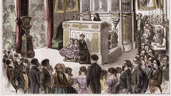 Ein Zeichnung eines Konzertes aus dem 19. Jahrundert