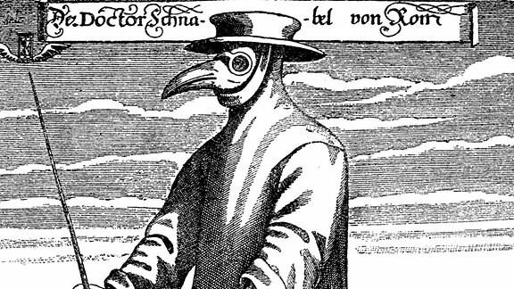 Historische Zeichnung eines Pestarztes aus dem 19. Jahrhundert