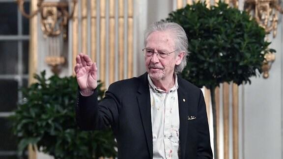 Literaturpreisträger Peter Handke während seiner Nobelvorlesung an der Schwedischen Akademie in Stockholm.