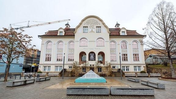 Außenansicht des Gebäudes des Phyletischen Museums in Jena.