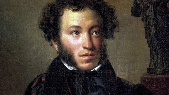 Alexander Puschkin, 1827  Gemälde von Orest Adamovich Kiprensky (Öl auf Leinwand)