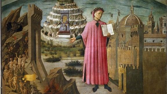 Dante Alighieri in einem Gemälde von Domenico di Michelino