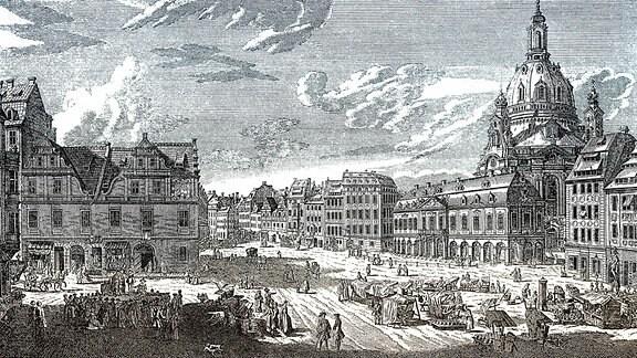 Historische Stadtansicht Dresden Neumarkt mit Frauenkirche, Kupferstich, 17. Jahrhundert