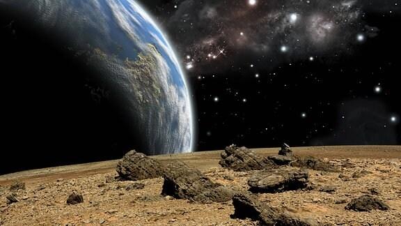 Künstlerische Darstellung eines der Erde ähnlichen Planeten im Weltraum