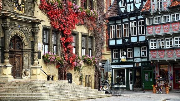 Fachwerkhäuser in der Innenstadt von Quedlinburg
