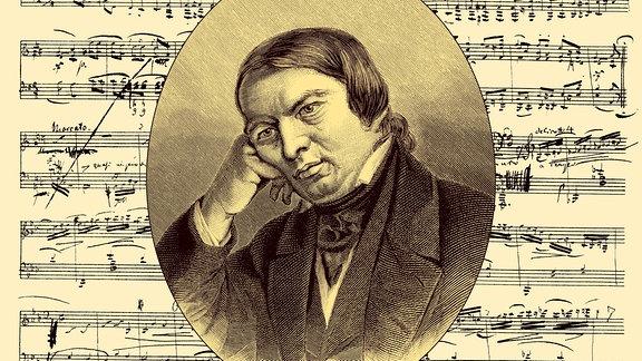 historische Noten-Handschrift und Portrait von Robert Schumann
