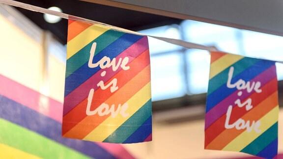 Im Bild sind Fahnen mit der Aufschrift Love is Love zu sehen.