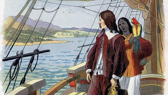 Robinson Crusoe bekommt Sohn Ile - Illustration von Felician Myrbach Rheinfeld (1853-1940).