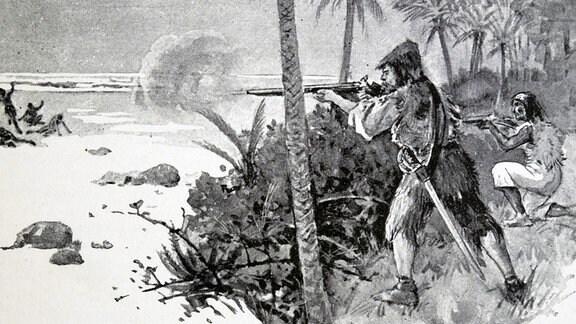 Robinson und Freitag kämpfen - Illustration aus einer Ausgabe des Robinson Crusoe aus dem 19. Jahrhundert, einem Roman von Daniel Defoe.