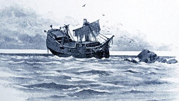 """Illustration aus einer Ausgabe des Romans """"Robinson Crusoe"""" zeigt ein Segelschiff"""