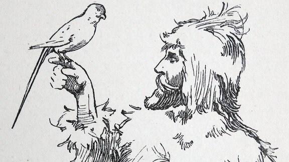 Robinson Crusoe in der Illustration aus dem 19. Jahrhundert