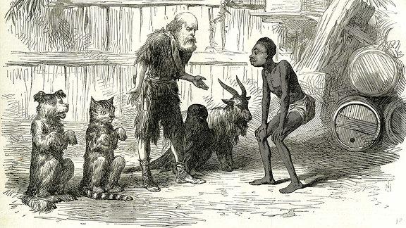 Robinson Crusoe und Freitag, 1869