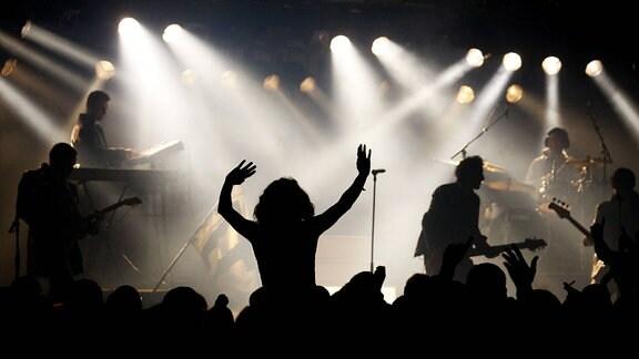 Rock - Pop - Konzert - Musiker mit Publikum im Scheinwerferlicht
