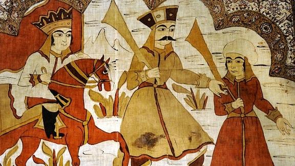 Illustration zu Nezamis Epos von Sassanidenkönig Khosrow (Chosrau) und der armenischen christlichen Prinzessin Shirin (Schirin), Textil 19. Jahrhundert