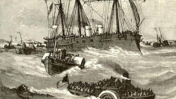 Zeichnung: Mehrer Schiffe fahren auf dem Meer.