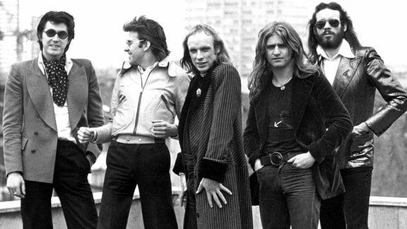 Bryan Ferry, Andy Mackay, Bryan Eno, Paul Thompson und Phil Manzanera, 1973