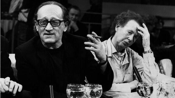 Ruth Berghaus, deutsche Regisseurin, damals DDR mit dem Schriftsteller Heiner Müller - 1989