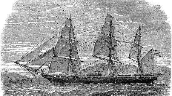 Historische Zeichnung des Segelschiffs USS Hartford, das Flaggschiff von David Glasgow Farragut, 1801 - 1870