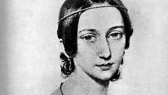 Illustration der Pianistin und Komponistin Clara Schuhmann