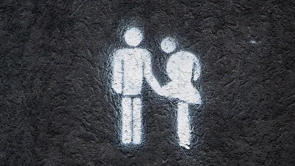 Graffiti Mann hebt Rock einer Frau