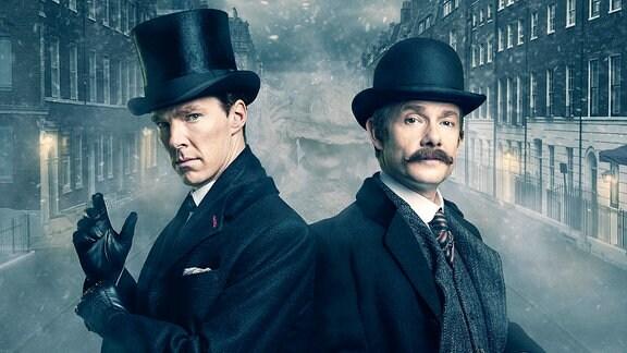 Sherlock Holmes (Benedict Cumberbatch, li.) und Dr. Watson (Martin Freeman)