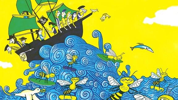 Einblick in das Kinderbuch von Buchpreisträger Saša Stanišić und Illustratorin Katja Spitzer. Ein Bienen-Piratenschiff unterwegs im Meer.