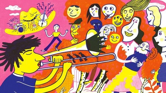 Einblick in das Kinderbuch von Buchpreisträger Saša Stanišić und Illustratorin Katja Spitzer. Ein buntes Konzert in der Menge.