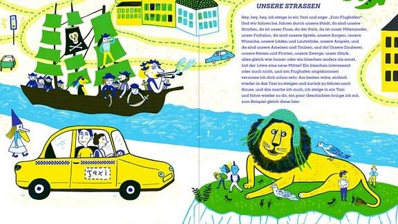 Einblick in das Kinderbuch von Buchpreisträger Saša Stanišić und Illustratorin Katja Spitzer. Auf dem Weg zum Flughafen wird im Taxi einiges erlebt.