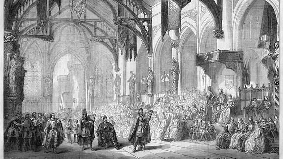 Schwarz-weiß Zeichnung einer Opernaufführung.