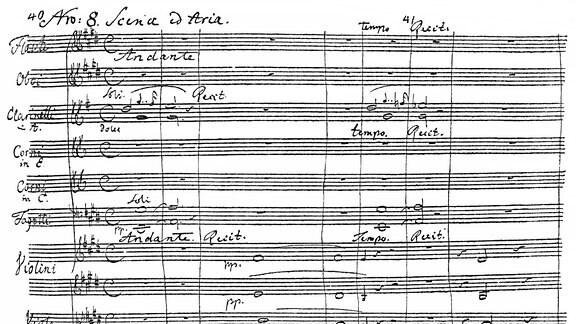 Eine Seite der romantischen Oper, Der Freischütz, historische Noten-Handschrift von Carl Maria Friedrich Ernst von Weber