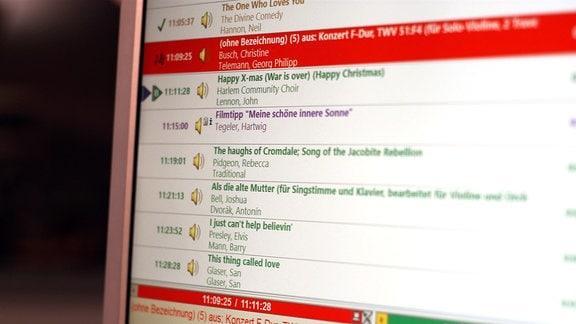 Titelliste MDR KULTUR auf dem Studiobildschirm