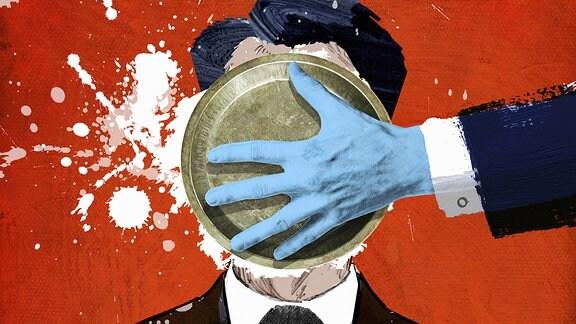 Grafik: Politiker mit einem Mikrophon bekommt eine Torte ins Gesicht