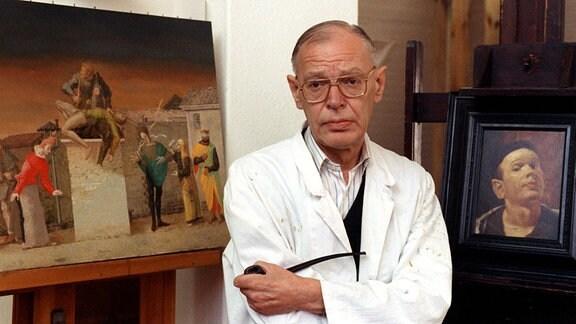 Der Leipziger Maler und Grafiker Professor Werner Tübke im Jahr 1991