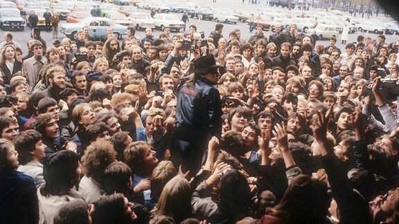 Udo Lindenberg bei seinem Konzert 1983 in Ostberlin