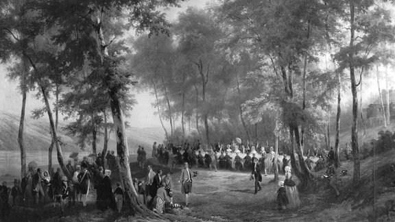 Gemälde zeigt Picknick von Queen Victoria in einem Wald